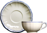 Filet Bleu Breakfast Cups & Saucers 13 Oz - 7 In Dia, Set of 2 | Gracious Style