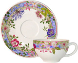 Millefleurs Breakfast Cups & Saucers 11 Oz - 7 1/2 In Dia, Set Of 2 | Gracious Style