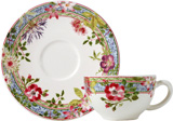 Millefleurs Tea Cups & Saucers 6 Oz, 6 In Dia, Set of 2 | Gracious Style