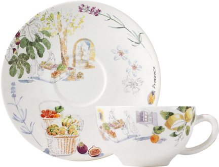 Provence Breakfast Cups u0026 Saucers 11 Oz - 7 1/2 In Dia Set  sc 1 st  Gracious Style & Gien France Provence Dinnerware | Gracious Style