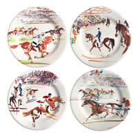 Cavaliers Dessert Plates Assorted 8 2/3 In Dia, Set Of 4 | Gracious Style