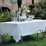 Mille Rubans Blanc Tablecloth Round 69 in | Gracious Style