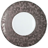 French Cancan Platinum Incrustation Dinner Plate 10.5 in Round | Gracious Style