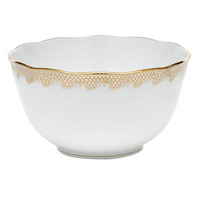 White With Gold Border Round Bowl (3.5Pt) 7.5