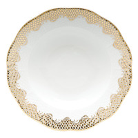White With Gold Border Rim Soup Plate 8