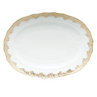 White With Gold Border Platter 15