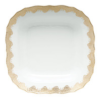 White With Gold Border Square Fruit Dish 11