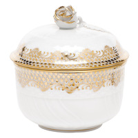 White With Gold Border Covered Sugar W/Rose (6 Oz) 4