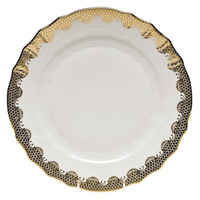 White With Gold Border Dinner Plate 10.5