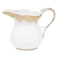 White With Gold Border Creamer (6 Oz) 3.5