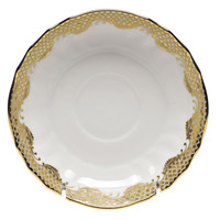 White With Gold Border Canton Saucer 5.5