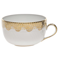 White With Gold Border Canton Cup (6 Oz) | Gracious Style