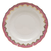 White With Pink Border Salad Plate 7.5