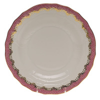 White With Pink Border Dessert Plate 8.25