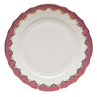 White With Pink Border Dinner Plate 10.5