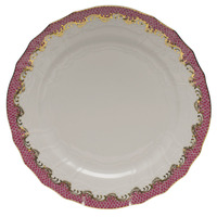 White With Pink Border Service Plate 11