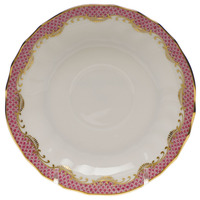 White With Pink Border Canton Saucer 5.5