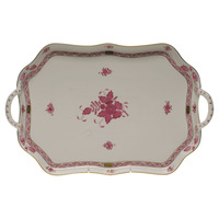 Chinese Bouquet Raspberry Rect Tray W/Branch Handles  18