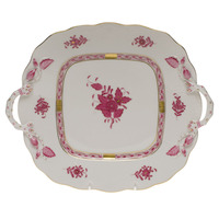 Chinese Bouquet Raspberry Square Cake Plate W/Handles  9.5