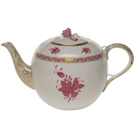 Chinese Bouquet Raspberry Tea Pot W/Rose  (60 Oz) 6.5