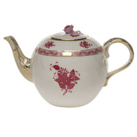 Chinese Bouquet Raspberry Tea Pot W/Rose  (36 Oz) 5.5