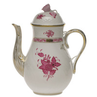 Chinese Bouquet Raspberry Coffee Pot W/Rose  (36 Oz) 8.5