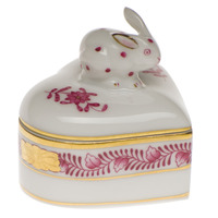 Chinese Bouquet Raspberry Heart Box W/Bunny 2