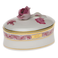 Chinese Bouquet Raspberry Oval Box - Rose 2.75