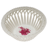 Chinese Bouquet Raspberry Large Openwork Basket 5