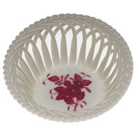 Chinese Bouquet Raspberry Small Openwork Basket 3.75