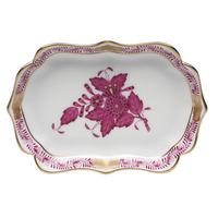 Chinese Bouquet Raspberry Mini Scalloped Tray 4.25