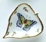 Spring in Budapest Large Purple & Green Butterfly Leaf Ring Dish 5 in | Gracious Style