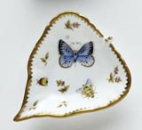 Spring in Budapest Blue Butterfly, Bee, & Ladybug Leaf Ring Dish 5 in Long | Gracious Style
