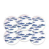 School of Fish Blue Canapes Boxed Set/6 | Gracious Style