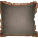 Linen with Jute Fringe Mud Linen/Spice Pipe Pillow, 24 in square