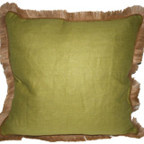 Linen with Jute Fringe Cilantro Linen/Barley Pipe Pillow, 24 in square