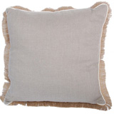 Linen with Jute Fringe Natural Linen/Eggshell Pipe Pillow, 24 in square