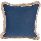 Linen with Jute Fringe Navy Linen/Eggshell Pipe Pillow, 24 in square