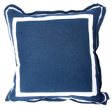 Linen Navy/White Twill Tape Pillow, 20 in square