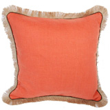 Linen with Jute Fringe Spice Linen/Java Pipe Pillow, 24 in square