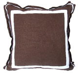 Linen Java/White Twill Tape Pillow, 20 in square