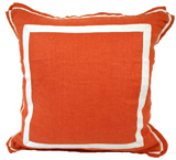 Linen Spice/Natural Twill Tape Pillow, 20 in square
