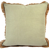 Linen with Jute Fringe Seafoam Linen/Mud Pipe Pillow, 24 in square