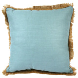 Linen with Jute Fringe Ice Linen/Mud Pipe Pillow, 24 in square