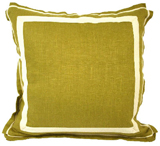 Linen Cilantro/Natural Twill Tape Pillow, 20 in square