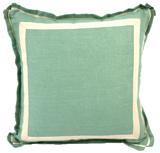 Linen Aqua/Natural Twill Tape Pillow, 20 in square