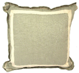 Linen Seafoam/Natural Twill Tape Pillow, 20 in square