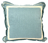 Linen Ice/Natural Twill Tape Pillow, 20 in square