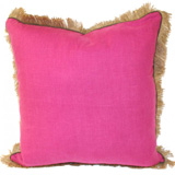 Linen with Jute Fringe Orchid Linen/Mud Pipe Pillow, 24 in square