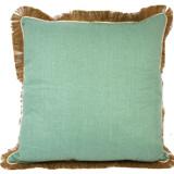 Linen with Jute Fringe Aqua Linen/Eggshell Pipe Pillow, 24 in square